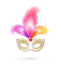 White carnival mask with pink feathers vector