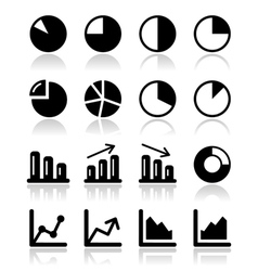 Chart graph black icons set for infographics vector