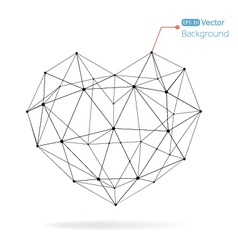 Geometrical heart background with lines vector