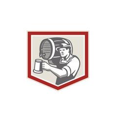 Barman lifting barrel pouring beer mug retro vector