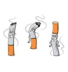 Cute cartoon cigarettes characters vector