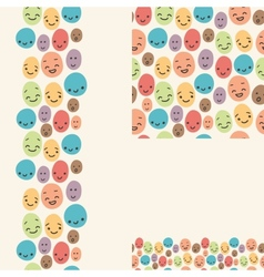 Smiley faces set of seamless patterns and borders vector