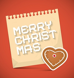 Merry christmas card with gingerbread heart and vector