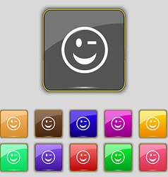 Winking face icon sign set with eleven colored vector