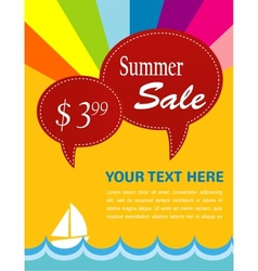 Summer sale yacht and sea with pice tags vector