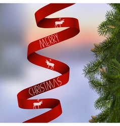 Christmas card with with fir branches and red vector