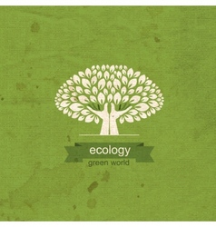 Ecology tree and hand in the form of a tree trunk vector