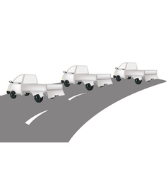 Three small pickup truck on the road vector