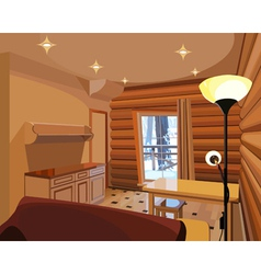 Cartoon interior in a wooden house vector