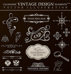 Calligraphic design elements vintage set ornament vector