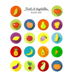 Vegetables and fruits round icons vector
