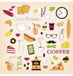 Breakfast set icons vector