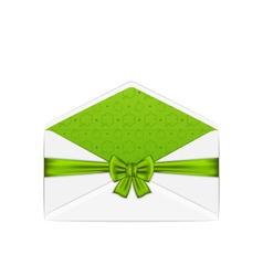 Open white envelope with bow ribbon for st vector