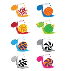 Snail funny set vector