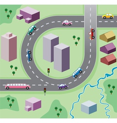 Houses and cars on the road vector