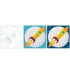 Space rocket on moon background set vector
