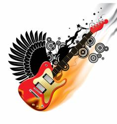 Bass guitar in flames vector