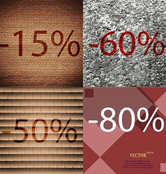 60 50 80 icon set of percent discount on abstract vector
