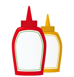 Ketchup and mustard bottles vector