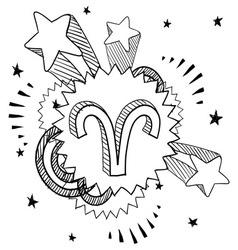 Doodle pop astrology aries vector