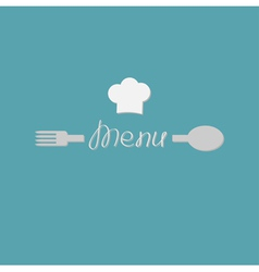 Fork spoon word menu and chef hat card flat design vector
