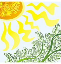 Nature pattern background branch and sun vector