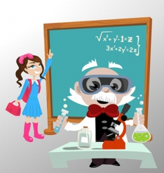 Science professor with student vector