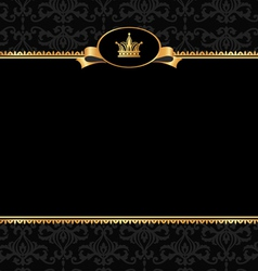 Vintage black background with golden frame vector
