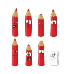 Emoticon red pencils set vector