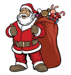 Santa claus bring a bag full of gift vector