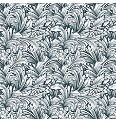 Floral monochrome ornamental seamless pattern vector