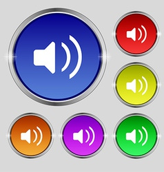Speaker volume sound icon sign round symbol on vector