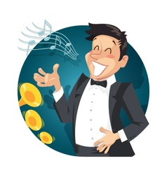 Singer sing with orchestra vector
