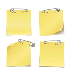 Blank sticky notes with safety pin on white vector