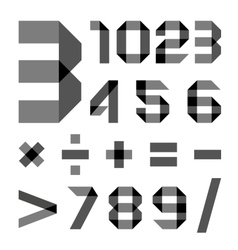 Font from a paper transparent tape - numerals vector