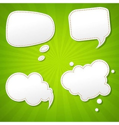 Green sunburst poster with speech bubble vector