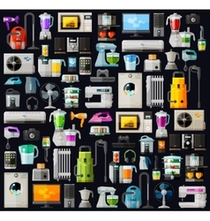 Appliances a set of colored icons  flat vector