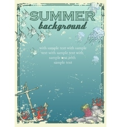 Summer beach background with sample text vector