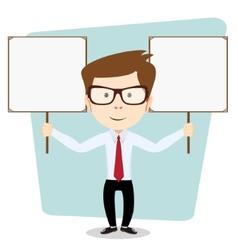 Cartoon teacher explaining and pointing at blank vector
