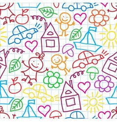 Pattern of childrens drawings vector