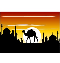 Beauty silhouette of camel trip vector