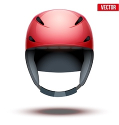 Front view of classic red ski helmet isolated on vector