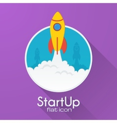 Rocket startup concept in flat style vector