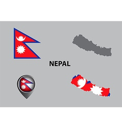 Map of nepal and symbol vector