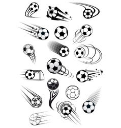 Football or soccer ball symbols in black and white vector