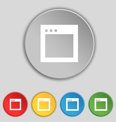 Simple browser window icon sign symbol on five vector