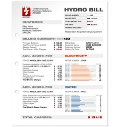 Hydro electricity bill blank vector