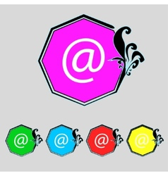 Commercial at icon flat modern set colourful web vector