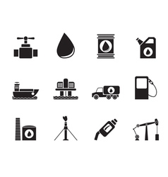 Silhouette oil and petrol industry objects icons vector