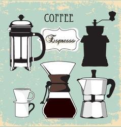 Vintage coffee espresso grinder drip set vector